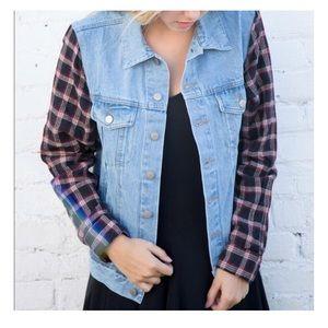 Brandy Melville Jean Jacket w Flannel Sleeves OS